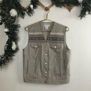 Pendleton Boho Tan Cotton and Wool Vest Size M